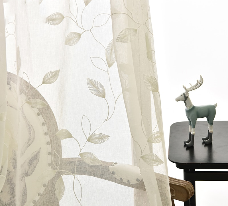 3D Embroidery Leaves Pattern Windows Voile Best Children's Lighting & Home Decor Online Store