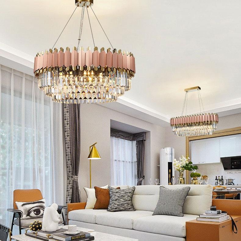 Modern Crystal Rose Pink Chandelier For Dining Room, Bedroom and Living Room Best Children's Lighting & Home Decor Online Store