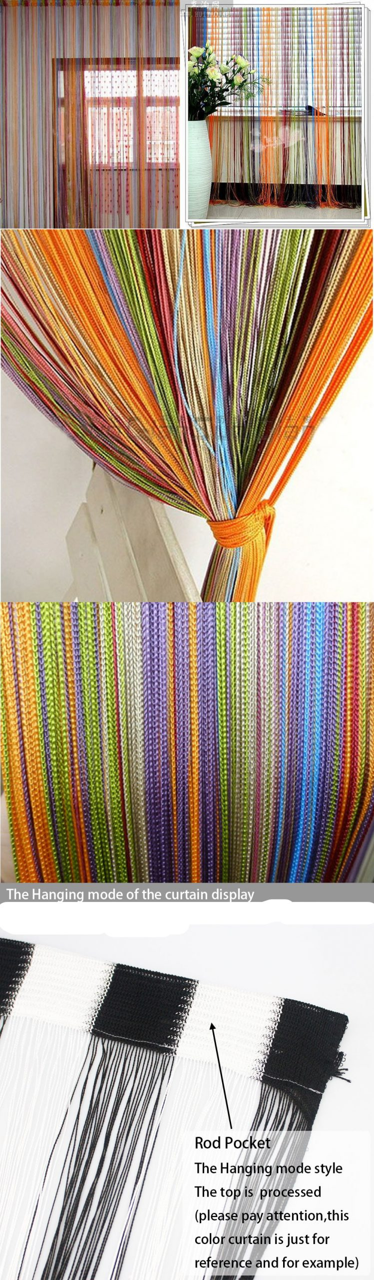 150*300CM colorful string curtain shower curtain  fringe panel room divider  home decoration  window vanlance   free shipping Best Children's Lighting & Home Decor Online Store