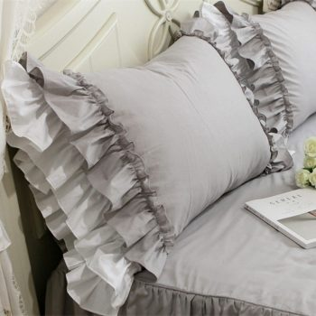 Grey Ruffle Lace Pillowcase