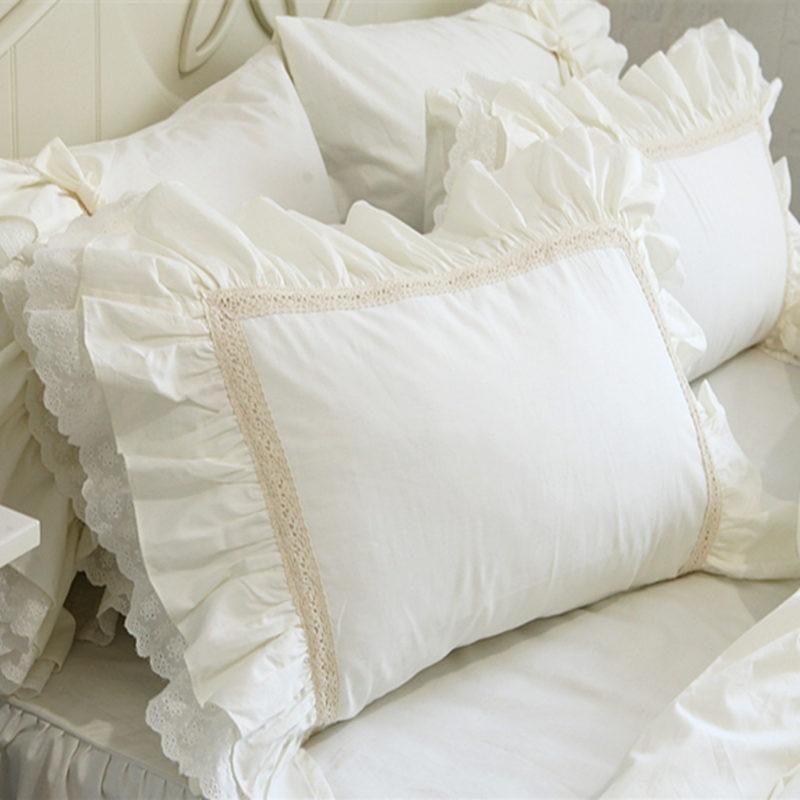 2pcs Big Embroidery Ruffle Lace Pillow Case - 100% Cotton Premium Quality Pillow Cover Princess Elegant Pillowcase Best Children's Lighting & Home Decor Online Store