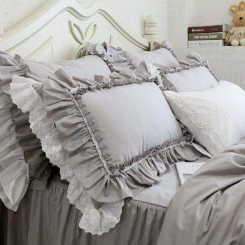 Grey Luxury Embroidered Big Lace Ruffle Pillowcase