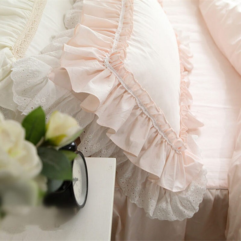 2 Piece European Princess Big Lace Ruffle Pillow Case - Handmade Lace Ruffle Pillow Cover