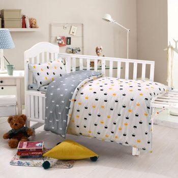 3 Pcs Set Baby Bedding Set Pure Cotton Crib Kit Including Pillowcase Duvet Cover & Flat Sheet Best Children's Lighting & Home Decor Online Store