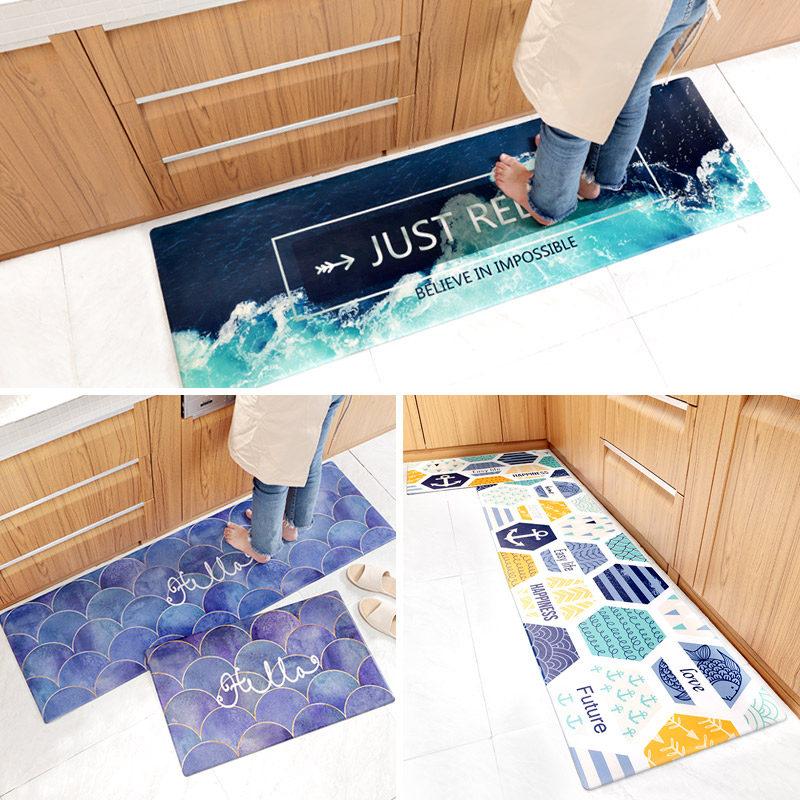 European Pu Leather Kitchen Rug Anti-Fatigue Mat - Non-Slip - Wear-Resistant Kitchen Floor Mat - Oil-Proof - Waterproof Kitchen Carpet