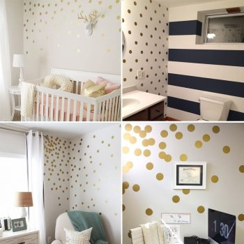 Gold Polka Dots Wall Stickers Children'S Room Decor