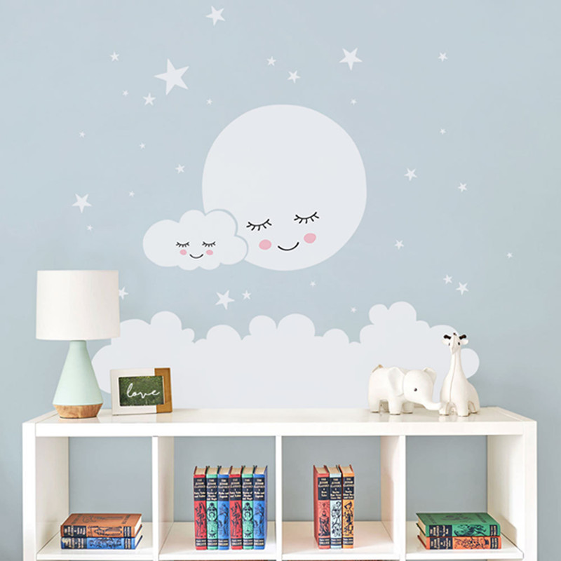Cloud, Moon & Stars Wall Decal For Nursery & Kids Room Best Children's Lighting & Home Decor Online Store