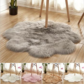 Plum Blossom Shaped Soft Fluffy Bedroom Faux Fur Fake Wool Sheepskin Rugs Warm Hairy Dining Room Home Carpet Anti-Skid Floor Mat Best Children's Lighting & Home Decor Online Store