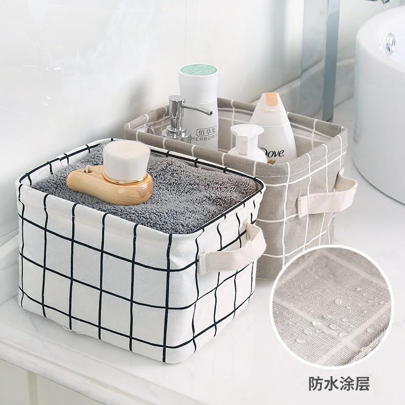 Seluna Desktop Storage Basket Cute Printing Waterproof Organizer Cotton Linen Sundries Storage Box Cabinet Underwear Storage Bag Best Children's Lighting & Home Decor Online Store