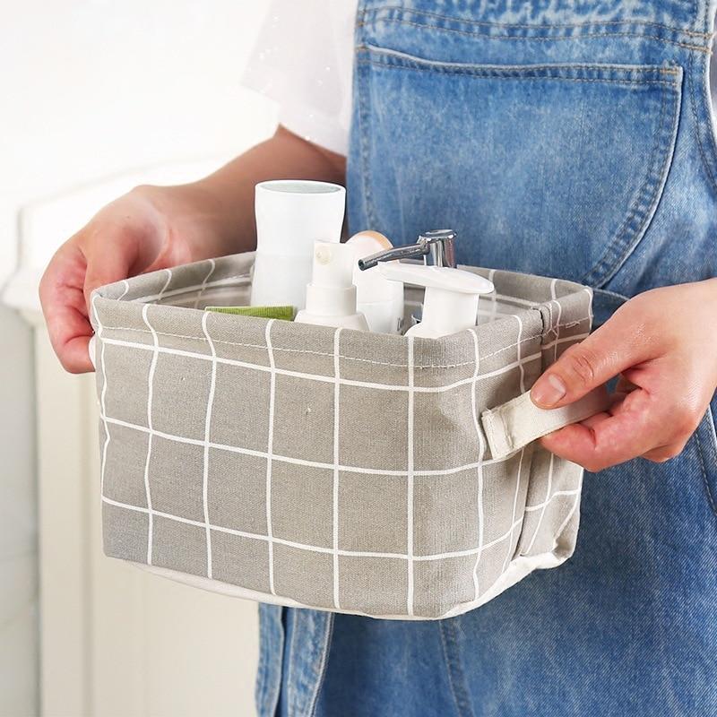 Seluna Desktop Storage Basket Cute Printing Waterproof Organizer Cotton Linen Sundries Storage Box Cabinet Underwear Storage Bag