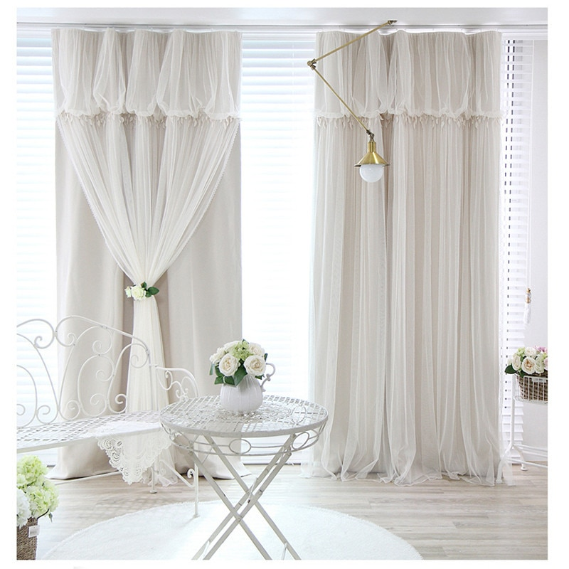 Tassels Head Top Blackout Curtain (Curtain+Voile Sheer Tulle)