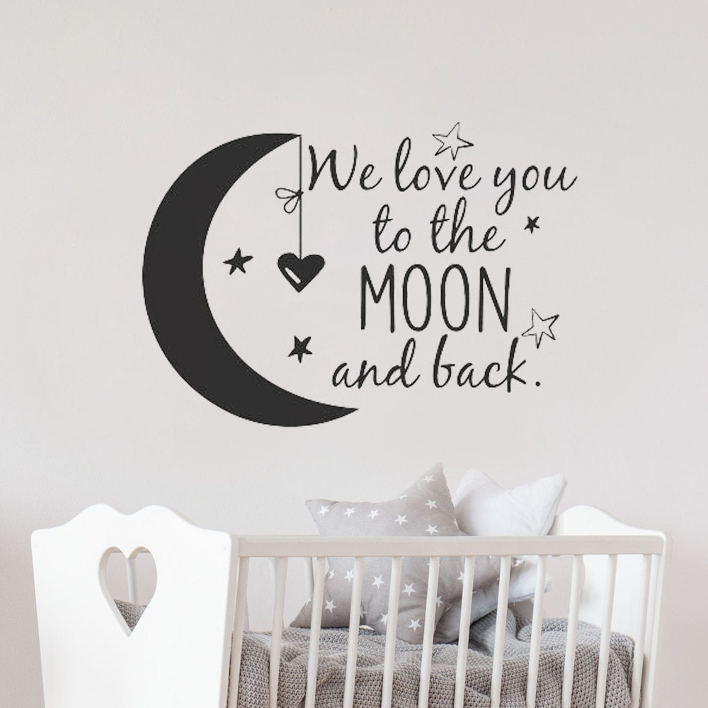 To The Moon And Back Vinyl Wall Decal Nursery Quotes - Easy to install Wall Stickers For Children's Room Best Children's Lighting & Home Decor Online Store