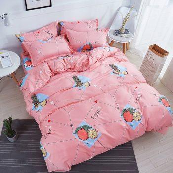 3/4Pcs/Set Pink Purple Unicorn Kids Bedding Set