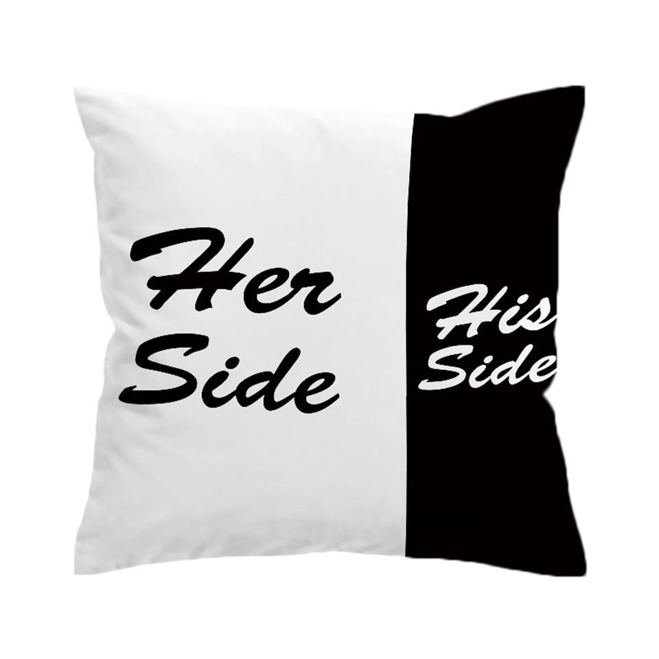 His &Amp; Her Side Cushion Covers Black And White