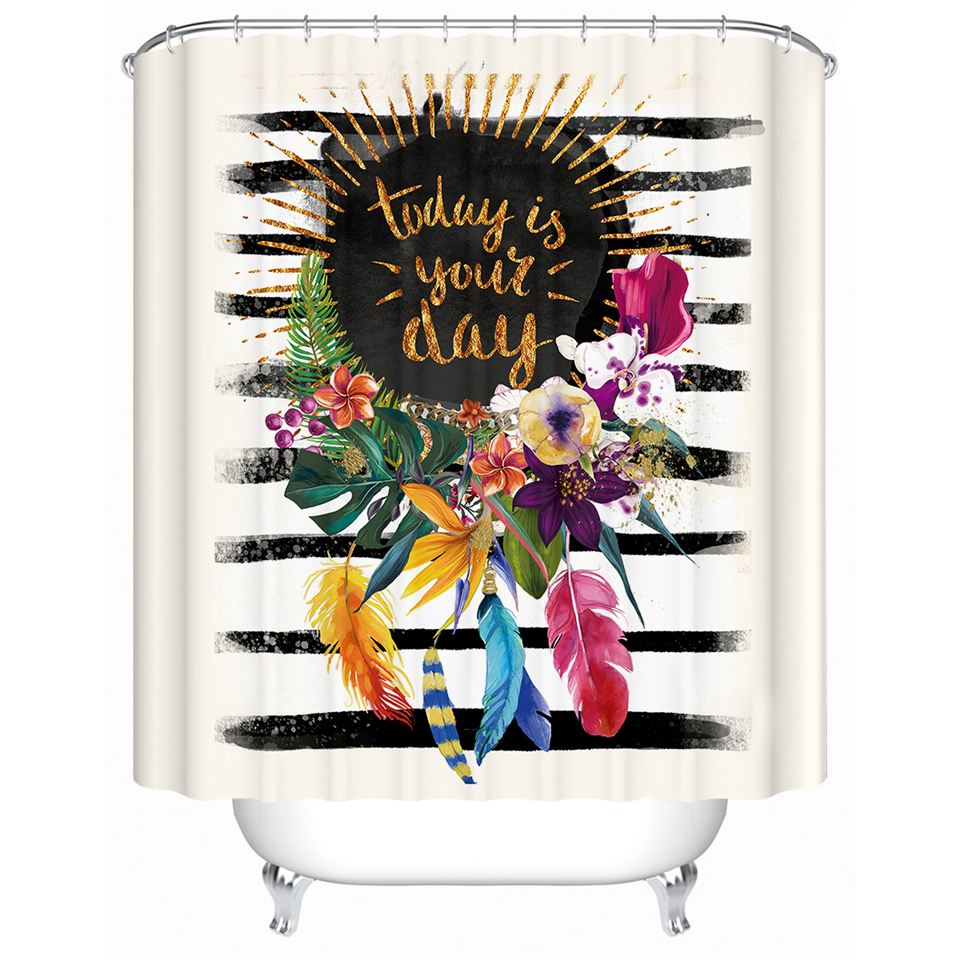 Floral Garland Shower Curtain Striped Pink Bath Curtain Waterproof Polyster Best Children's Lighting & Home Decor Online Store