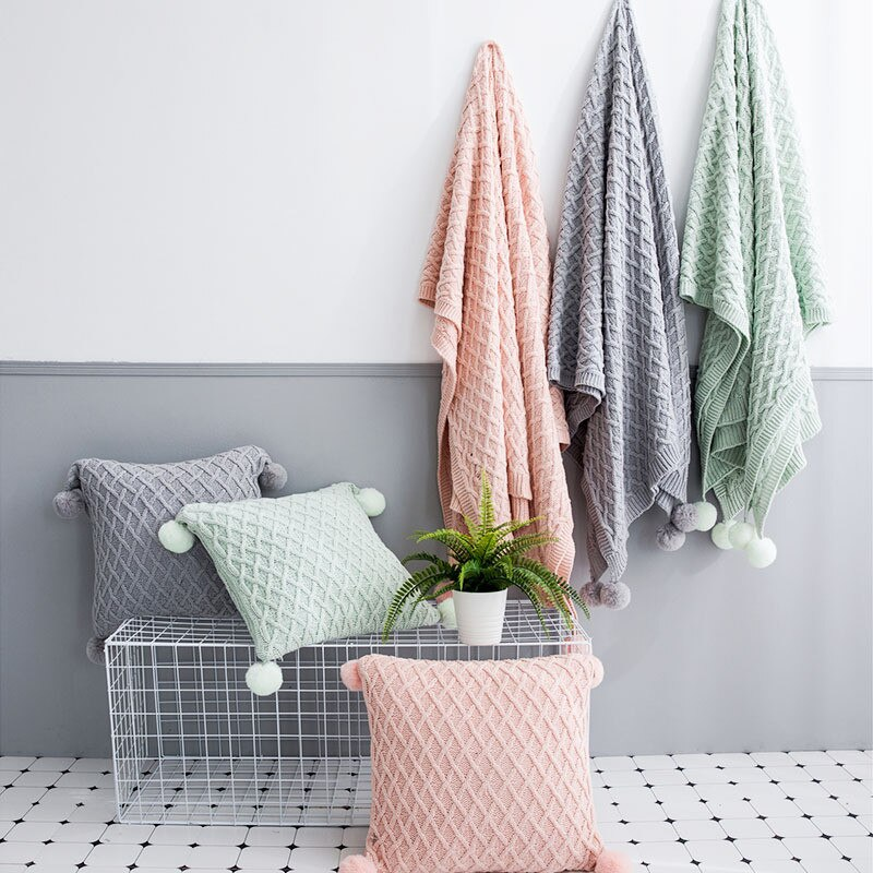 Pink Grey Cotton Plaid Knitted Blanket & Cushion Cover Best Children's Lighting & Home Decor Online Store