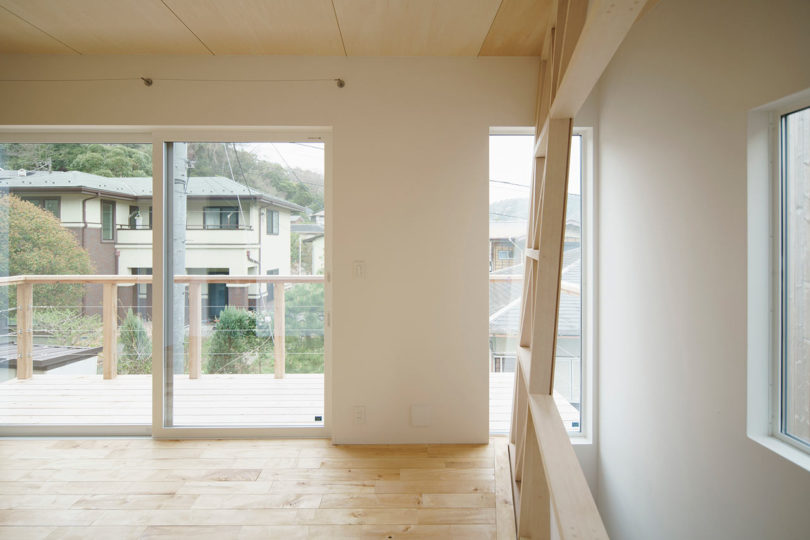 A Small Wooden House in Hayama with an Acrylic Gridded 'Curtain' Best Children's Lighting & Home Decor Online Store