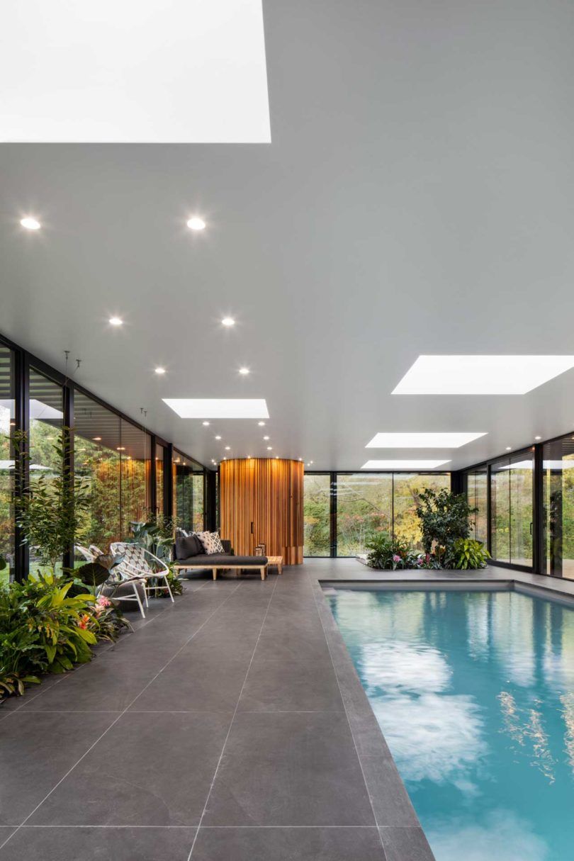 A Glass House Inspired Pavilion for an Indoor Swimming Pool Best Children's Lighting & Home Decor Online Store