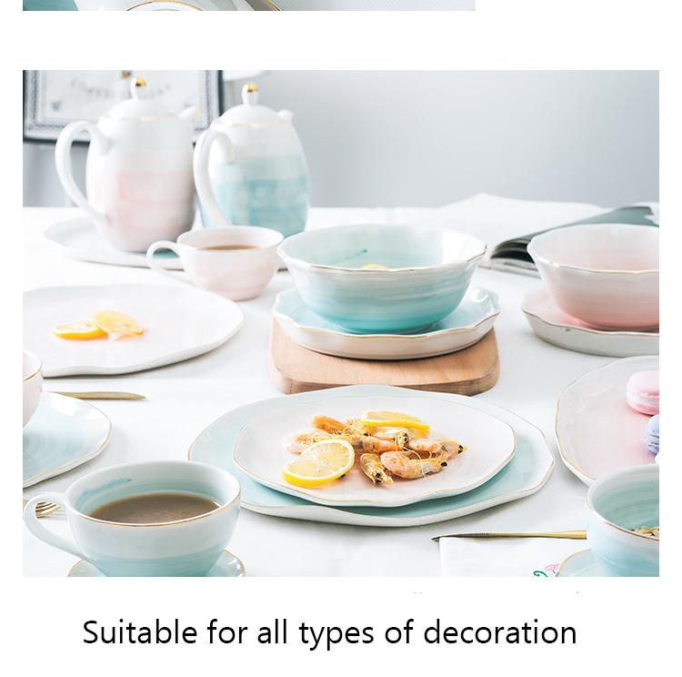 Pink And Blue Gold Ceramic/Porcelain Elegant Dinner set Best Children's Lighting & Home Decor Online Store
