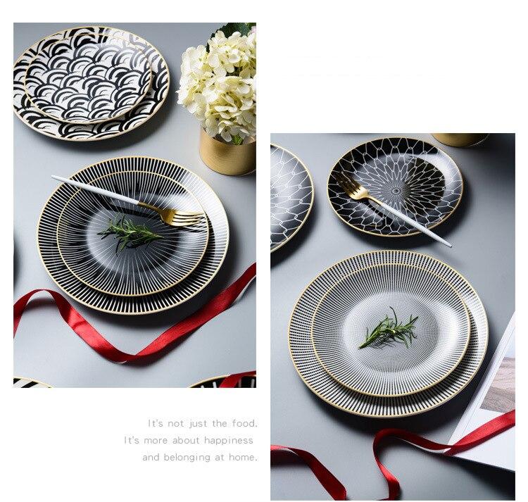 6 / 8 /10 Inch Black &Amp; White Ceramic Dinner Plates