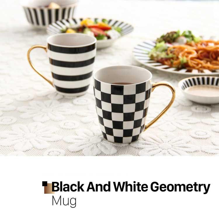 Black And White Stripe Mug With Gold Handgrip