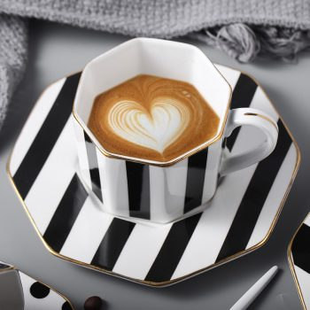Octagonal Ceramic Plate Black White Dot Stripe Tableware