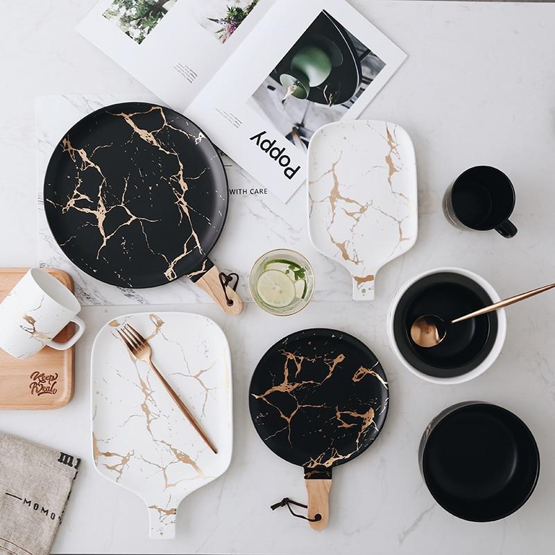Black, White, Gold Marble Glazed Ceramic Tableware Set Best Children's Lighting & Home Decor Online Store
