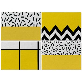 Yellow Geometric Printed Kitchen Placemat For Dining Table Best Children's Lighting & Home Decor Online Store