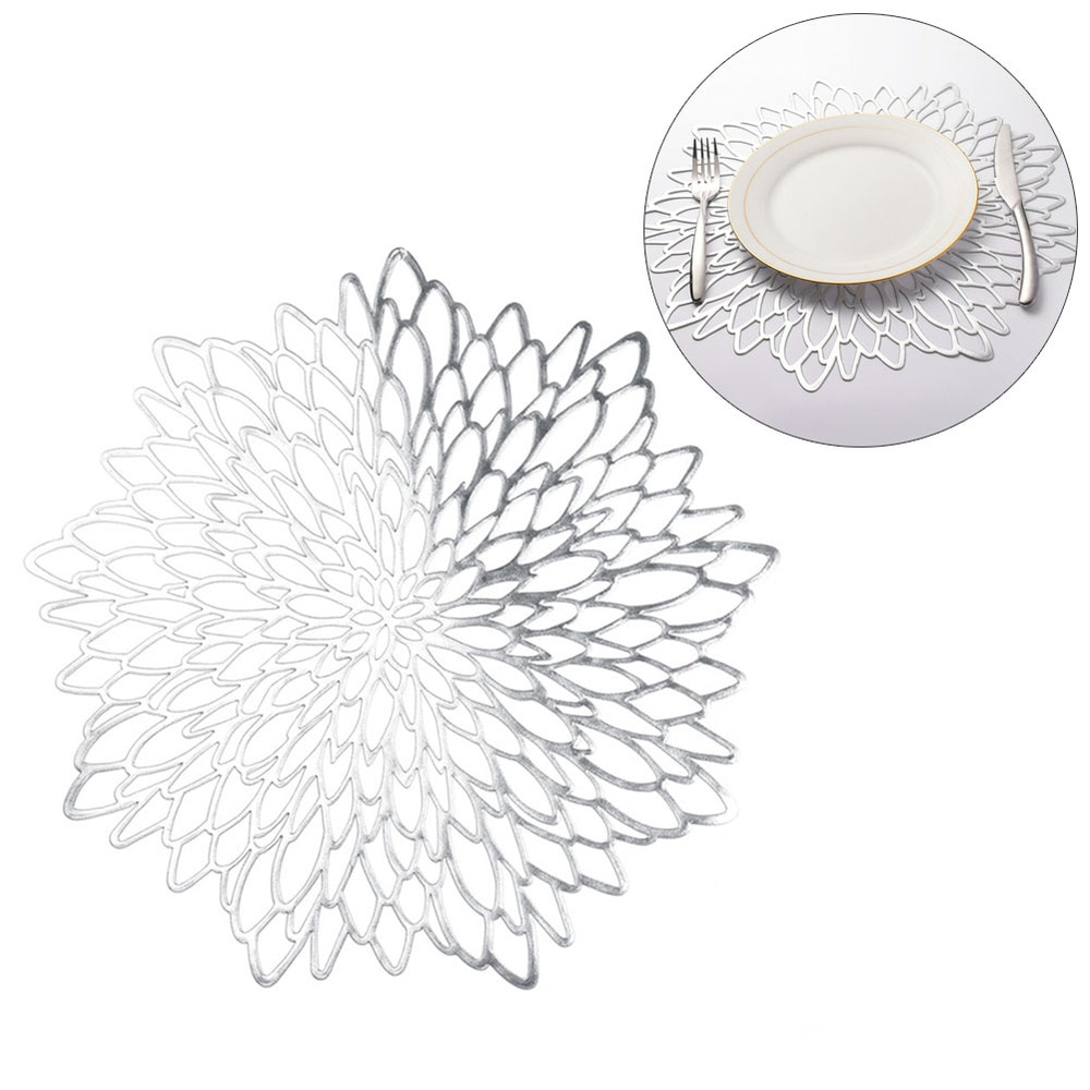 Pvc Material Placemat Hollowed Gold Stamping Placemat Hibiscus Flowers Shape Unique Placemat For Home Decor Dining Table