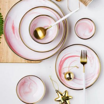 Pink Marble Dinner Plates - Tableware Best Children's Lighting & Home Decor Online Store
