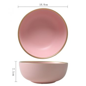 1 Piece Solid Pink Ceramic Plate With Golden Edges (Bowls, Plates &Amp; Spoons)