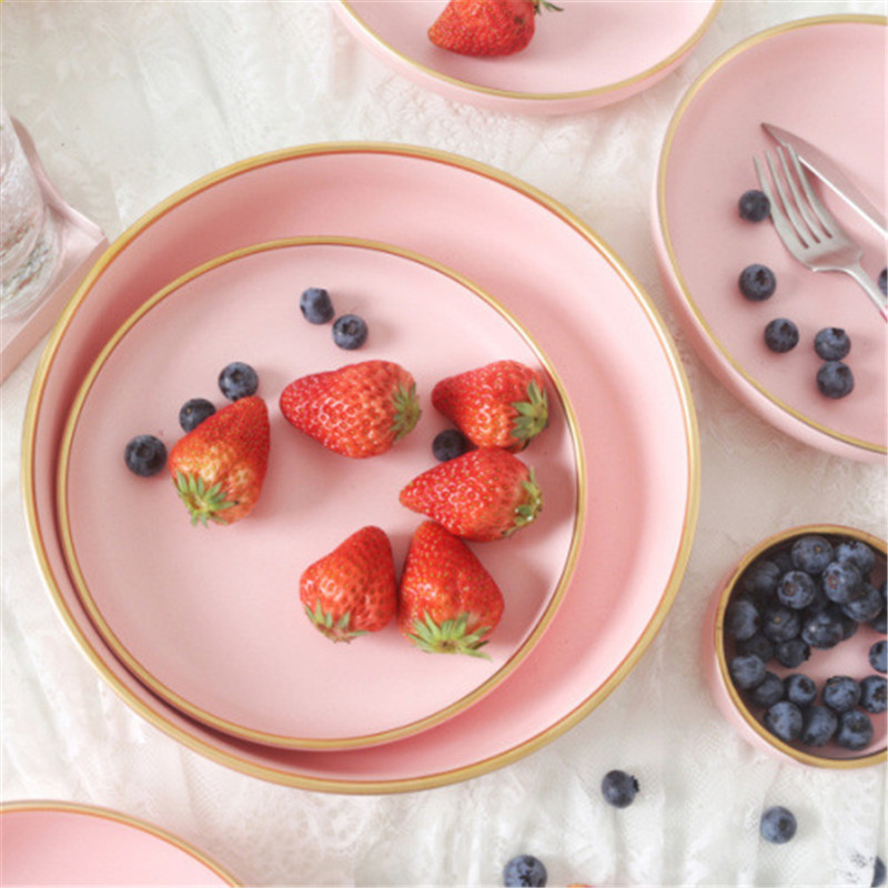 Solid Pink Ceramic Plate With Golden Edges