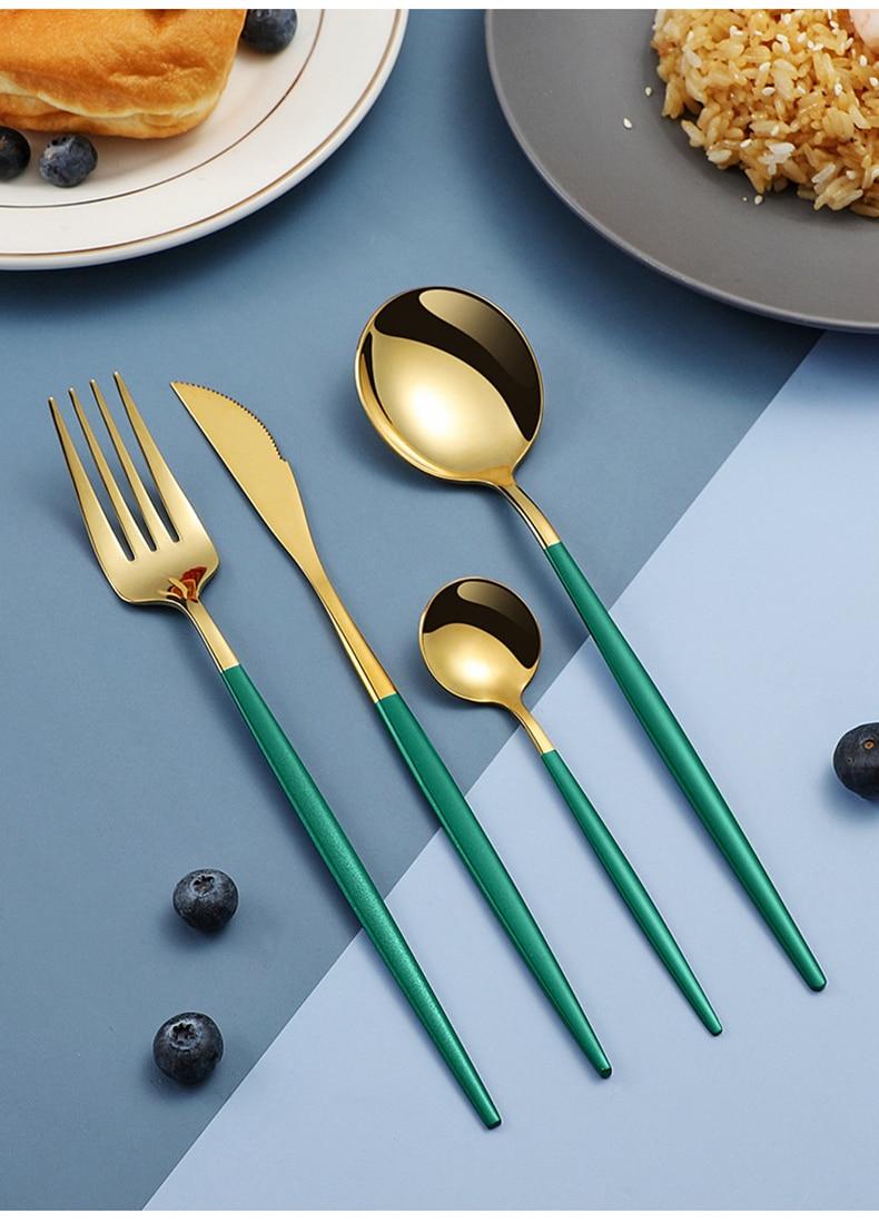 4Pcs/set Black Gold Cutlery Set Stainless Steel Best Children's Lighting & Home Decor Online Store