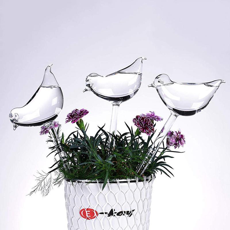 3 Pack Plant Waterer Self Watering Globes, Bird Shape Hand Blown Clear Glass Aqua Bulbs Best Children's Lighting & Home Decor Online Store