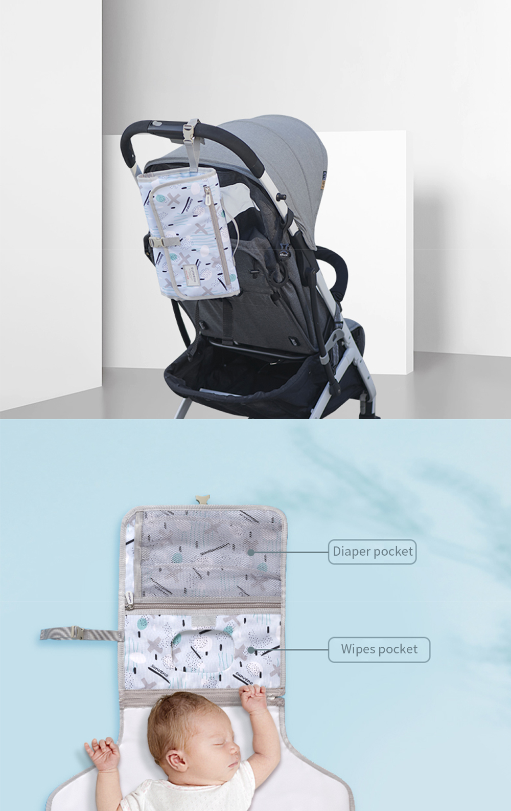 Portable Baby Changing Mat Foldable Washable Waterproof Mattress Changing Pad