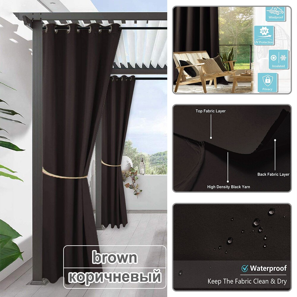 Fade Resistant Outdoor Curtains With Blackout - with  Rust-Proof Grommet Best Children's Lighting & Home Decor Online Store
