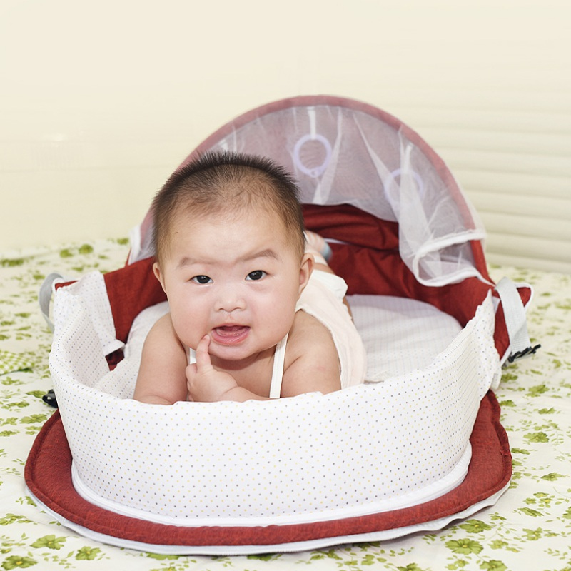 Portable Multi-Function Folding Bed With Toys &Amp; Mosquito Net