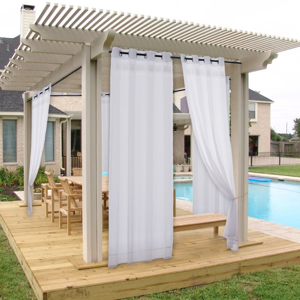 Outdoor Curtains For Patio &Amp; Garden - Double Sheer Waterproof Outdoor/Indoor Curtains With 2 Bonus Ropes