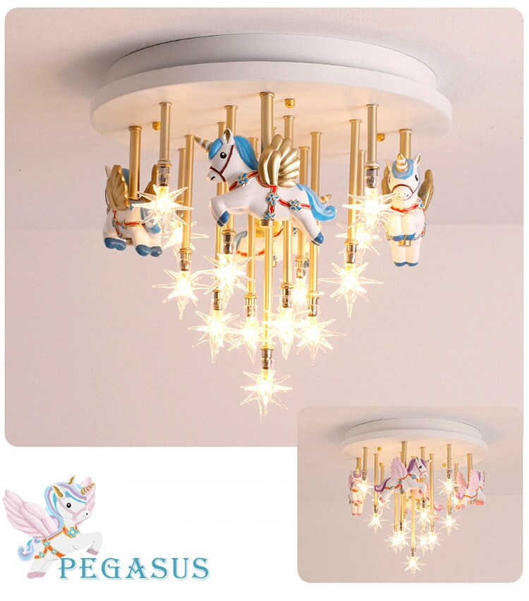 36W Blue Pink Merry Go round star Ceiling Lights For Children's Room |Princess Girl | Boy's Bedroom Ceiling Lamps Best Children's Lighting & Home Decor Online Store