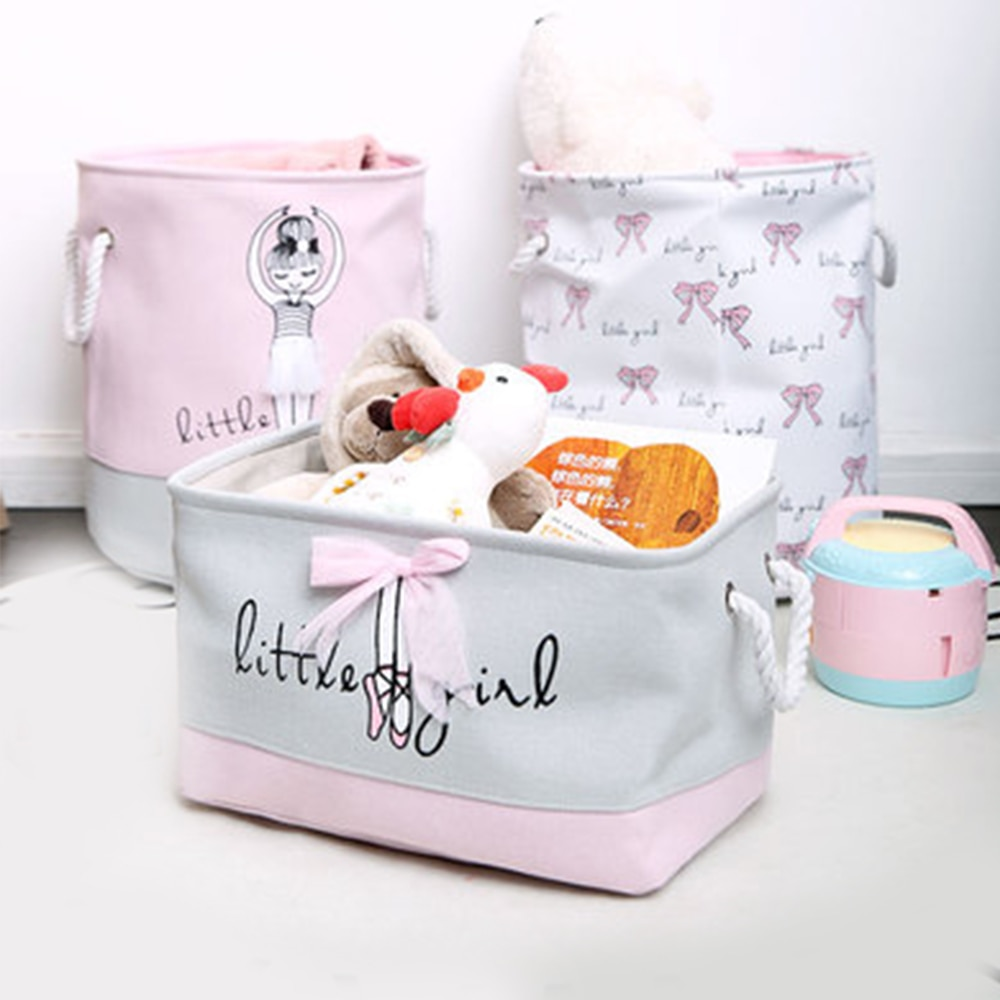 1pc Ballet girl Folding Laundry Toys Storage Basket Barrel