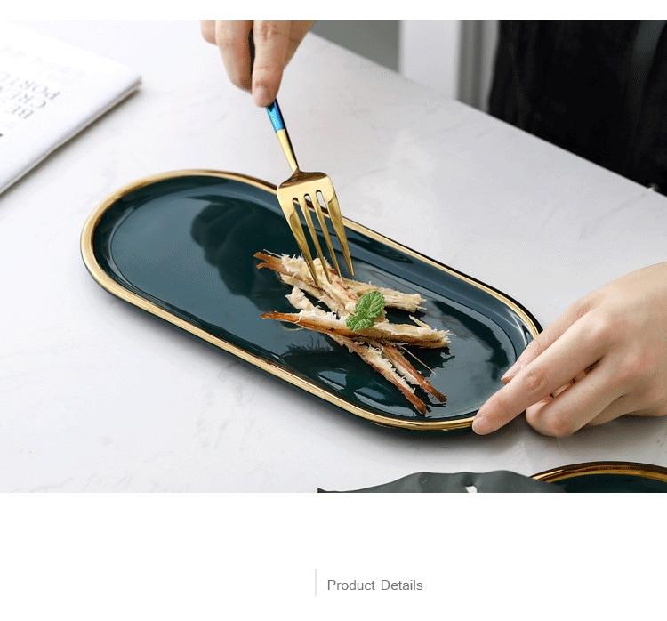 Nordic Green Gold Rim Ceramic Oval Plate Best Children's Lighting & Home Decor Online Store
