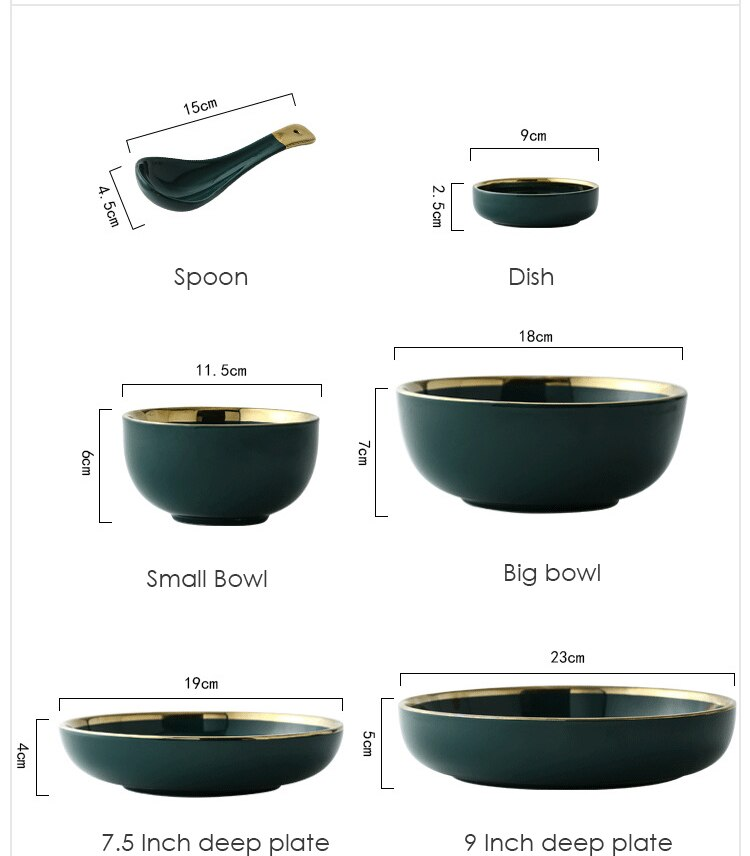Nordic Style Green Ceramic Gold Inlay Plate Best Children's Lighting & Home Decor Online Store
