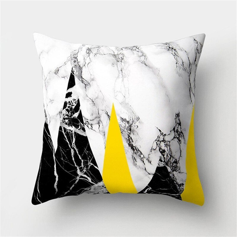Yellow Pillow Cover Marble Geometric Cushion Cover Best Children's Lighting & Home Decor Online Store