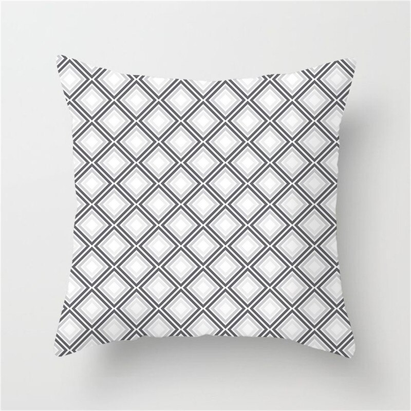 Fuwatacchi White Geometric Cushion Cover Black Diamond Star Stripe Pillow Case Home Bedroom Sofa Decor Pillow Cover 45*45 cm Best Children's Lighting & Home Decor Online Store