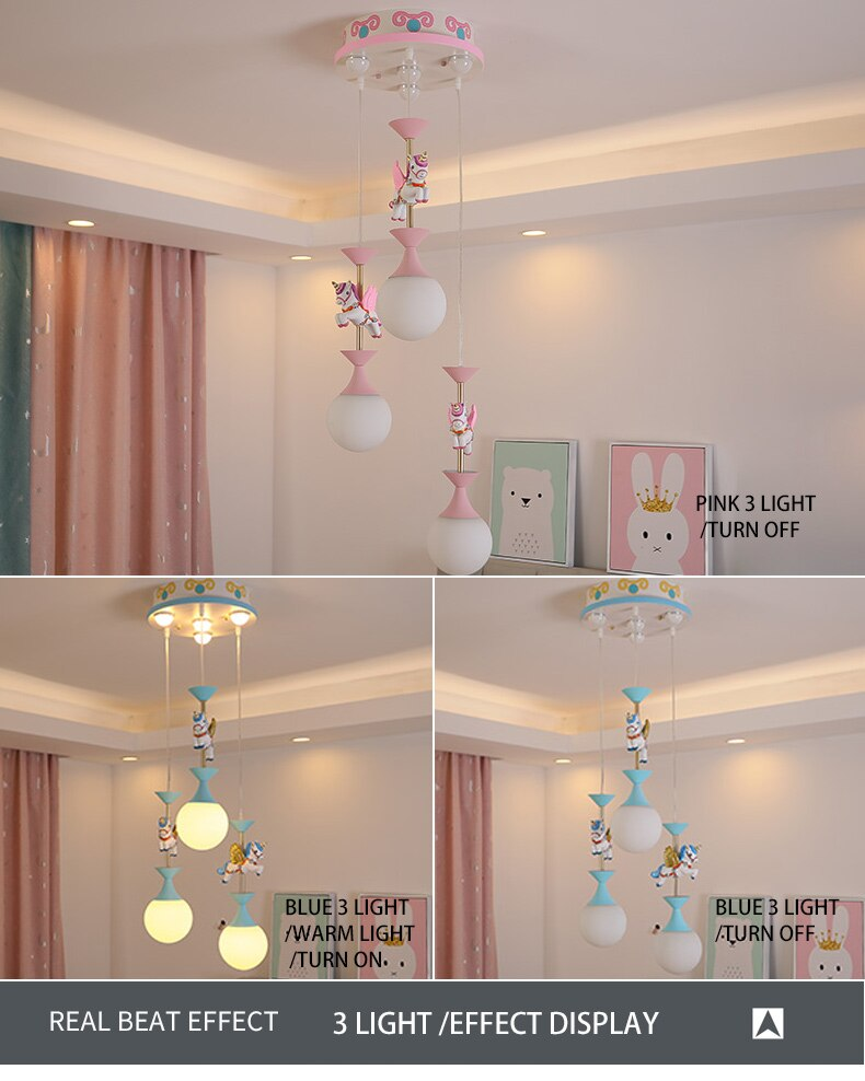 Merry-go-round Chandelier For Kids Room | Blue For Boys Room | Pink Girls Princess Baby Bedroom Lamps Best Children's Lighting & Home Decor Online Store