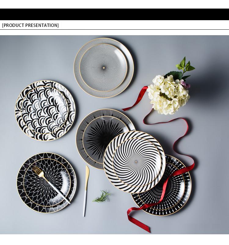 6/8 /10 inch Black and White Porcelain plates set - Dinnerware Set Best Children's Lighting & Home Decor Online Store