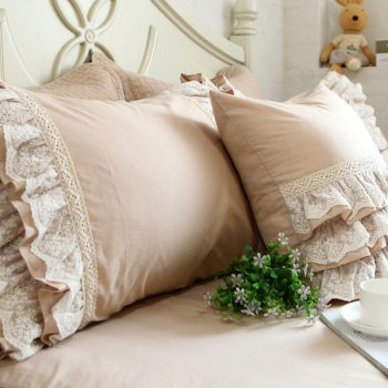 European Style Cotton Lace Ruffle Pillowcase