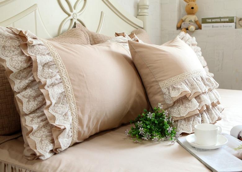 European Style Cotton Lace Ruffle Pillowcase