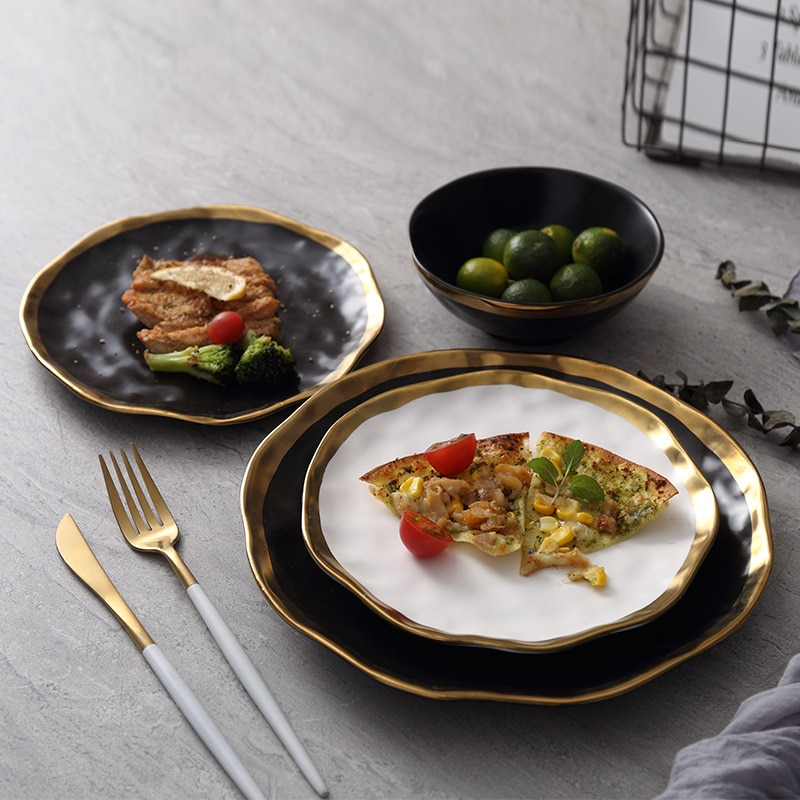 Luxury Gold Edges Ceramic Dinner Plate With Gold Inlay - Black And Gold Plates