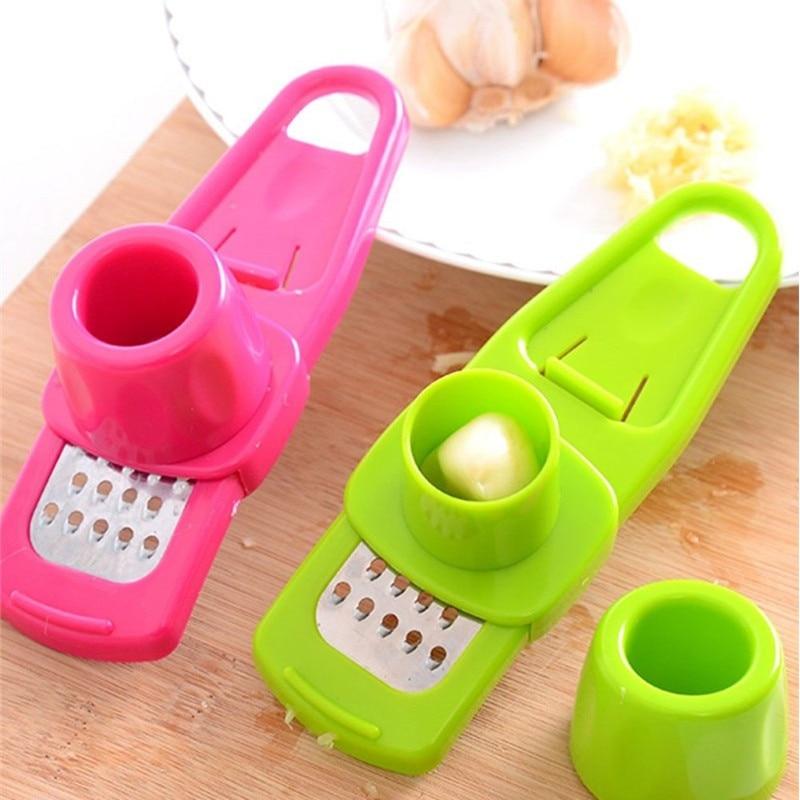 Garlic Presser Grinder/Peeler/Slicer/Chopper - Multi-Functional Manual Stainless Steel Cutter - Kitchen Gadgets
